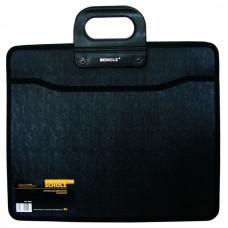 Портфель В4 3+1отд PP на молнии черный с кольцевыми ручками 5244, Scholz