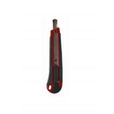 Нож канцелярский 9мм с автофиксатором и металической направляющей прорезиненный 4-347, 4OFFICE