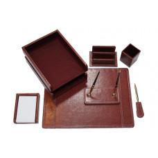 Набор настольный иск кожа коричневого цвета 7 предметов DR7W-1A