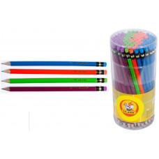 Карандаш граф HВ с ластиком Neon (уп.100шт.в тубе) цв в ас 119 CLASS