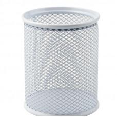 2110-03 Подставка для ручек круглая 80*80*100мм метал. серебро