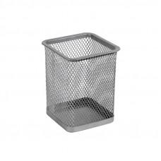 2111-03-АПодставка для ручек квадратная 80х80х100мм, мет, серебро AXENT