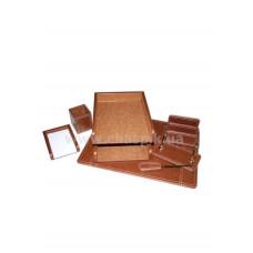 RN7W-1A Набор настольний  из дерева коричневого цвета, 7 предметов. Размер п0дложки 50х37,см