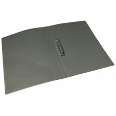 папка с прижимом+карман, А4,  500 мкн, серая, PP, 4-221-08, 4OFFICE
