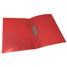 папка с прижимом+карман, А4,  500 мкн, красная, PP, 4-221-01, 4OFFICE