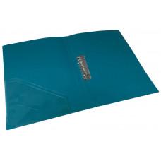 папка с прижимом+карман, А4, 500 мкн, зел.(бирюза), PP, 4-221-04, 4OFFICE