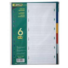 Разделители цветовые, А4, 6шт., PP, 4-253, 4Office