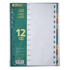 Разделители цветовые, А4, 12шт., PP, 4-254, 4Office