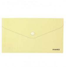 Папка-конверт на кнопке,евро,250*130мм, Pastelini, желтая,AXENT
