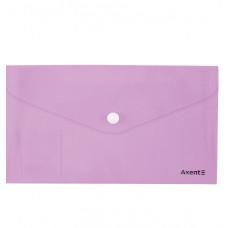 Папка-конверт на кнопке, евро,250*130, Pastelini, сиреневая AXENT