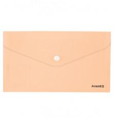 Папка-конверт на кнопке,евро,250*130, Pastelini, персиковая,AXENT
