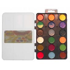 Краски акварельные 18 цветов.x 3.5мл., с 2-мя кистями пластиковая коробка с завесом 7050,CLASS