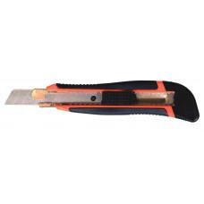 Нож канцелярский+2лезвия 18мм,с автофиксатором и металлической направляющей прорезиненный 4512, NORMA