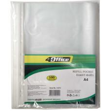 Пакет-файл,А4,РР, 23мкн,прозр., уп.100шт., 4-271, 4Office